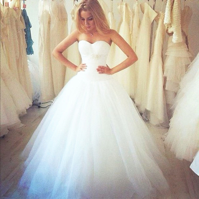 Elegant White Princess Wedding Gowns 2017 Sweetheart Pleated Tulle ...