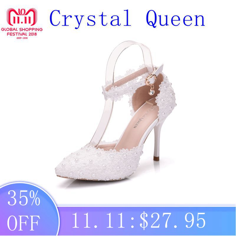 Crystal Queen Wome Sandals Wedding Shoes White Lace Flower Wristband Bridal Shoes Pointed Toe Thin Heels satin Female Shoes 2017 white lace butterfly crystal pendant with ultra fine pointed high heeled shoes the bride wedding shoes wristband sandals