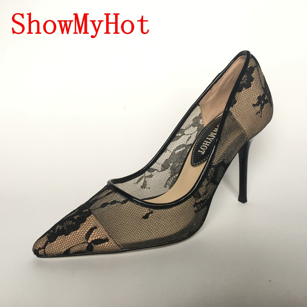ShowMyHot female Spring lace pointed Toe slip on pumps Women design wedding sexy Party Shoes classics