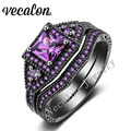 Vecalon Tremdy Новый Обручальное Кольцо Набор для Женщин Имитация алмазный Cz Аметист 10KT Черное Золото Заполненные Женщины Обручальное кольцо