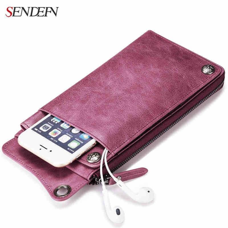 Sendefn genuine leather wallet women with zipper  pocket phone you clutch handbag wallet  purse designed for couples,Designer de