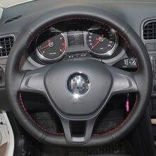 Крышка рулевого колеса автомобиля для Volkswagen VW Golf 7 Mk7 новый поло 2014 2015 Тюнинг автомобилей черные кожаные