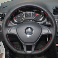 Black Leather Car Steering Wheel Cover For Volkswagen VW Golf 7 Mk7 New Polo 2014 2015
