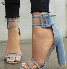 New Fashion Women Open Toe Blue Jean Patchwork PVC Transparent Thick Heel Sandals Ankle Strap Chunky