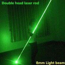НОВЫЙ двойной головкой зеленый лазерный указатель зеленый лазерный меч для dj party club лазерное световое шоу широкий луч laserThe 100 МВТ 8 мм луч