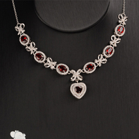 Red Garnet Heart Pendant Necklace Women Solid 925 Sterling Silver Fine Jewelry Wedding Bridesmaid Gift Choker