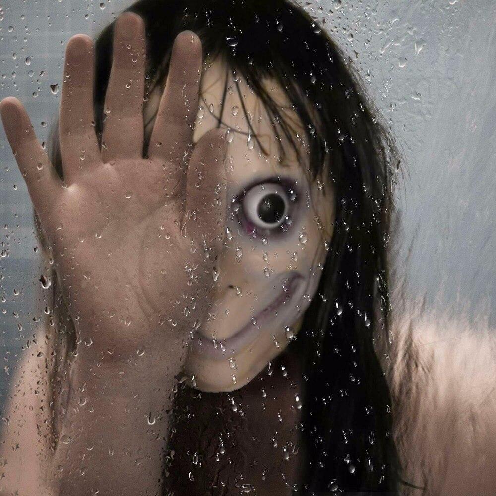 Masque d/'horreur cosplay latex jeux momo avec cheveux longs adulte halloween
