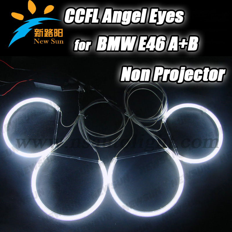 8000K xenon White 4PCS CCFL headlights  Angel Eyes Halo Rings For BMW E46 A+B non-projector Car CCFL auto Lamp with 2 inverters