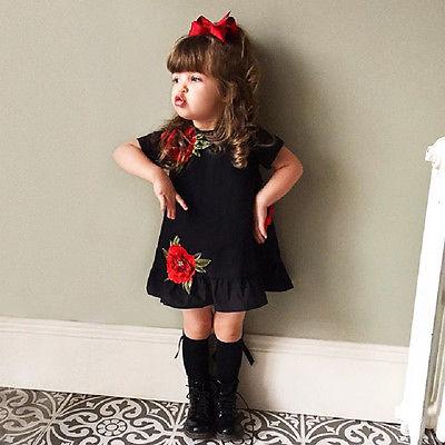 be8763e6a6 Niños Niñas vestido negro Flor del bordado del verano del niño lindo  Sundress manga corta Niña