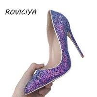 Purple Glitter Shiny Women Shoes High Heel 12 cm Stilettos Pointed Toe Women Pumps Chaussure Femme Talon Sexy LF001 ROVICIYA