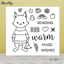 lovely fox/wishes Transparent Rubber Stamp/Seal for DIY Scrapbooking/Photo Album Decorative Card Making Clear Stamps Supplies