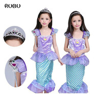 2018 Rushed Limited Children Baby Girl Clothes Little Mermaid Fancy Kids Girls Dresses Princess Ariel Cosplay