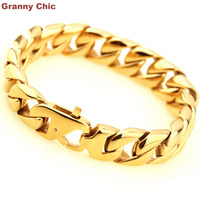 Granny Chic New Arrive Mens Hip Hop Jewelry Silver Gold Stainless Steel Curb Cuban Bracelet Link