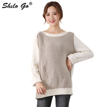 100% Cotton Shoulder Off Sweater Women Spring Plus size Casual Long Sleeve Tops Streetwear Patchwork Pullover Jumper