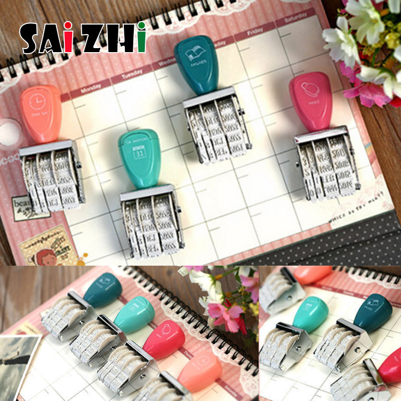 Saizhi 1Pcs DIY Vintage Plastic Rolling Stamp Month Date Wheel Stamps Diary Album Scrapbooking Stationery SZ3702