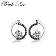 [BLACK AWN] Ekte 925 Sterling Sølv Fine smykker Trendy Engagement Stud øredobber for kvinner Bijoux Female Earring T011