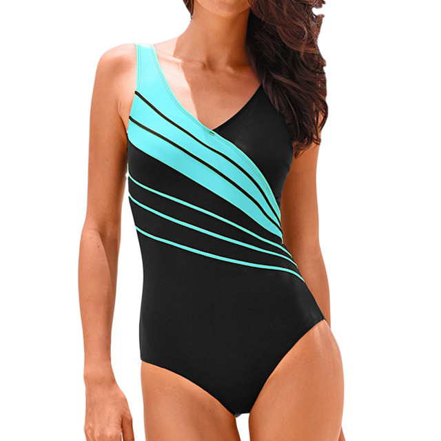 Hibkn one piece plus size swimsuit print one piece swimwear large sizes trikini plus size monokini V neck bathing suit 2