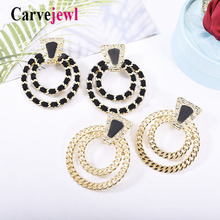 Carvejewl big stud earrings metal round suede weaved for women jewelry crystal rhinestone new enamel glaze earring