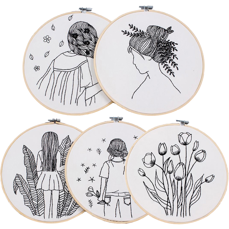 Sketch Easy Embroidery Kit for Beginner Printed Needlework Cross Stitch Set Sewing Art Wall Embroidery Painting Home Decor(China)