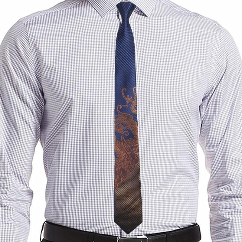 Ricnais 슬림 남자 넥타이 좁은 넥타이 6cm 클래식 페이즐리 넥타이 남성용 공식 비즈니스 웨딩 슈트 실크 자카드 직물 넥타이