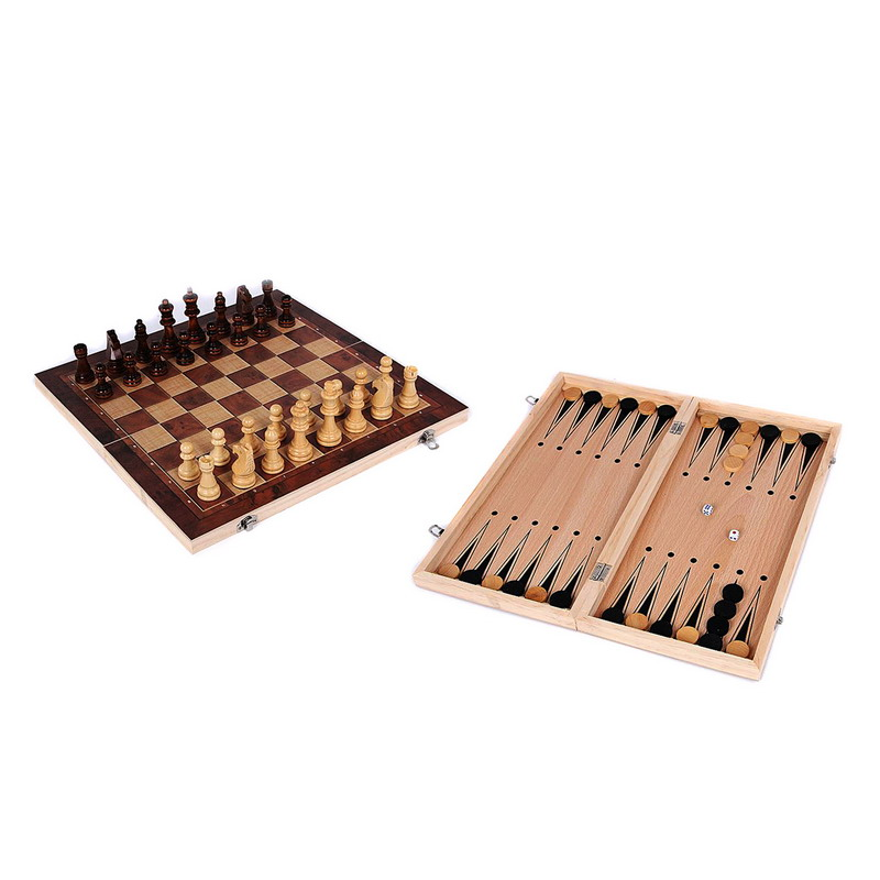 3 In 1 Backgammon Wooden International Chess Set Board Travel Games Chess Backgammon Draughts Entertainment