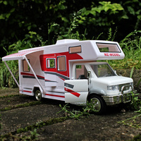 1:28 RV touring car DIY Children's toys have furniture ornaments Alloy car model Pull Back Open the door Children like the gift