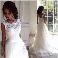 Vestido De Noiva New 2018 Vintage Boho Lace Wedding Gowns V Back Tulle Princess Bridal Dress robe de mariee Custom Made