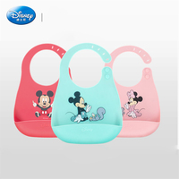Disney Waterproof Bib Green Mickey Minnie Clean Cartoon Print Girl Silicone Baby Bib Boy Bib Pocket Lunch Drooling Bib SZZ070