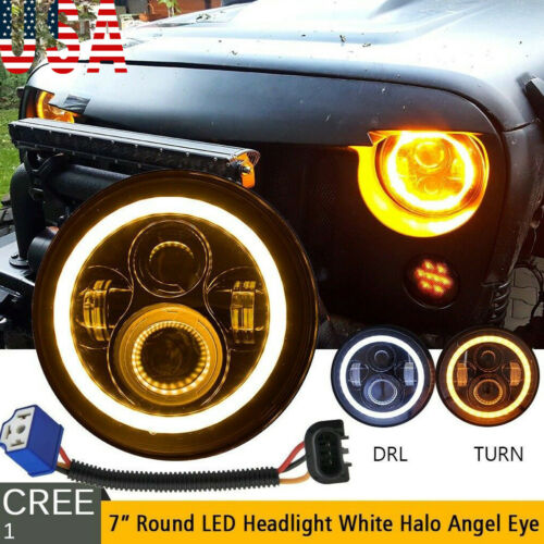 7'' Osram 40W Round LED Headlight Hi-Lo Beam Bulb For Jeep Wrangler JK TJ Black