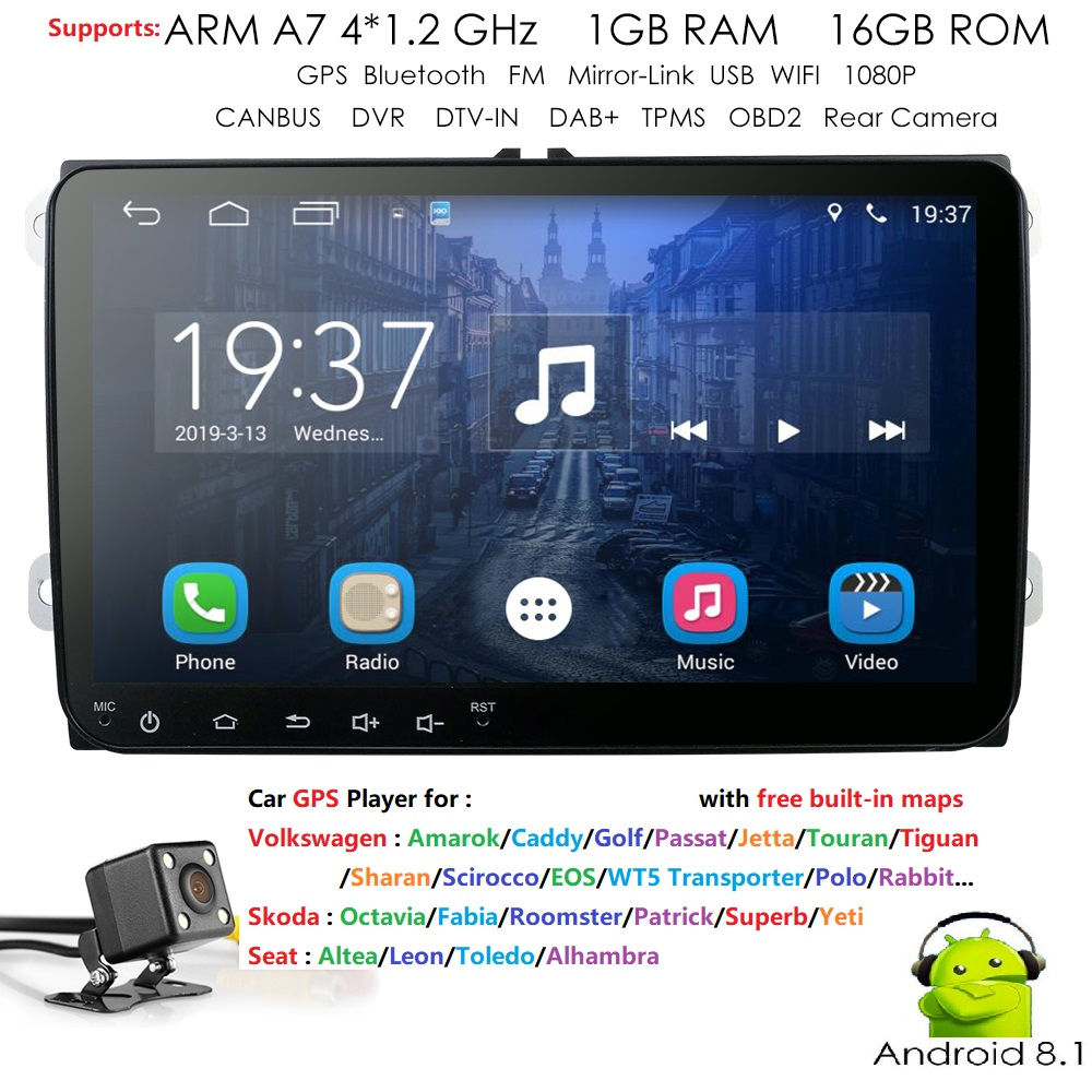 2din 9 ''Ouad core Android8.1 pour V W Passat B6 CC Polo GOLF 5 6 Touran J etta Tiguan Magotan siège miroir lien wifi caméra gratuite