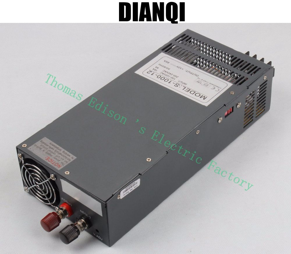 ФОТО 1000W 12V 80A 220V or 110V INPUT Single Output Switching power supply for LED Strip light AC to DC s-1000-12