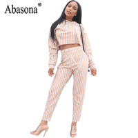 c358c004ac8a Abasona Women White Stripe Hooded Jumpsuit Long Sleeve Straight Ankle  Length Jumpsuits Woman Lace Up Casual