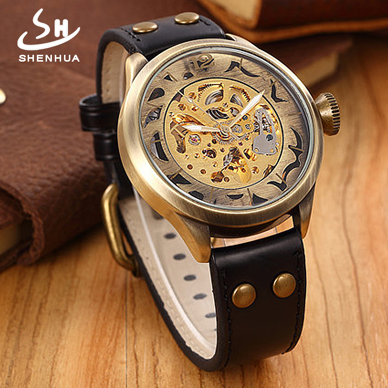 SHENHUA Steampunk Power Automatic Skeleton Watch Men Self Winding Big Case 48MM Men's Mechanical WristWatches horloges mannen vintage watch steampunk men skeleton mechanical fob pocket watch clock pendant hand winding men women chain with gift box