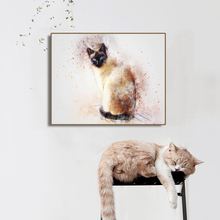 Watercolor Siamese Cat Decoration Canvas Painting Calligraphy Prints Wall Art Pictures For Living Room Animals Poster