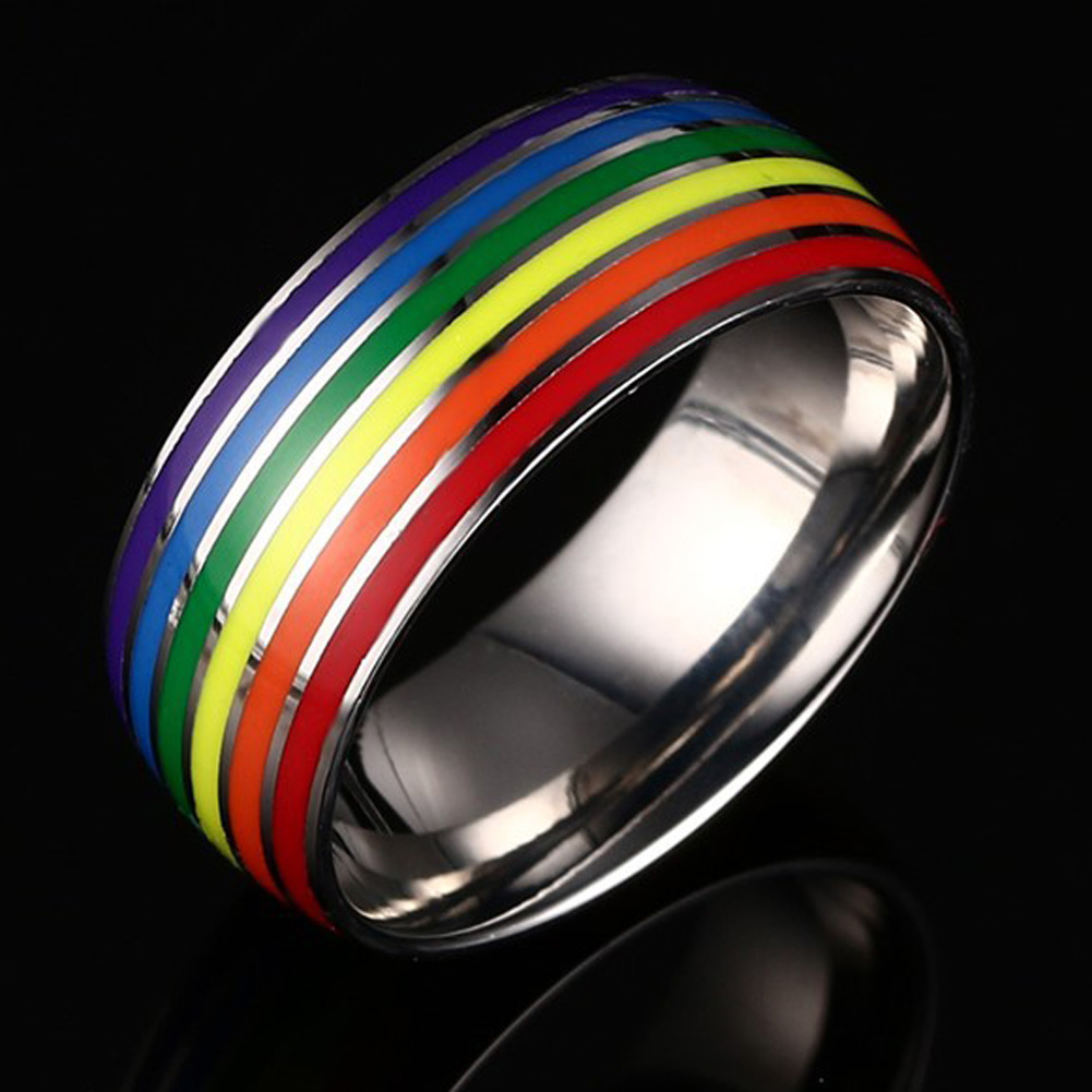 unisex classic enamel colourful rainbow stripe ring engagement wedding band ring stainless steel for men women lover jewelry