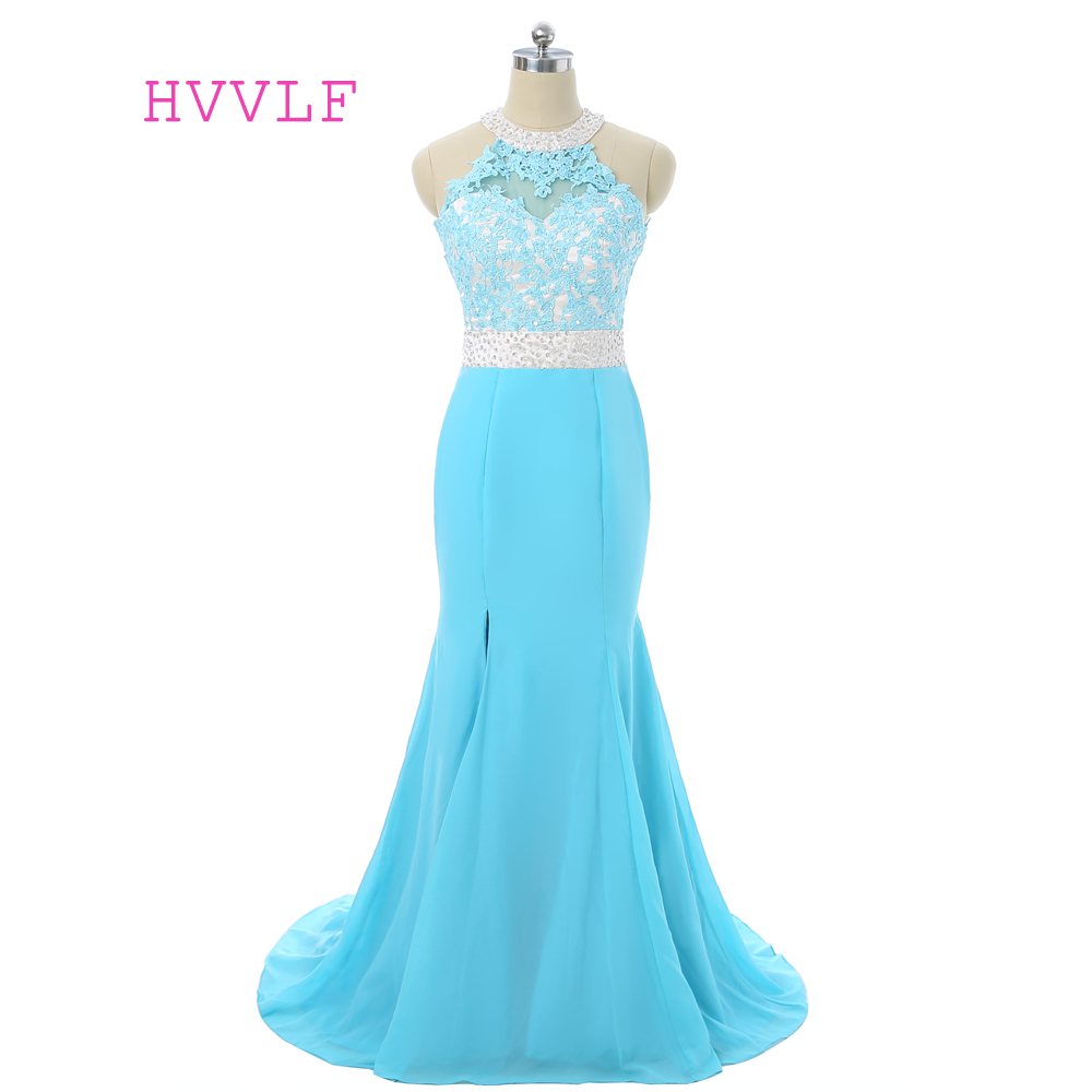 Turquoise 2019   Prom     Dresses   Mermaid Halter Chiffon Lace Beaded Open Back Women Long   Prom   Gown Evening   Dresses   Robe De Soiree