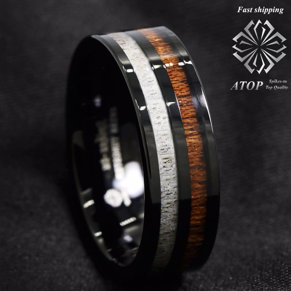 8mm Black Tungsten Carbide Ring Deer Antler and Koa Wood Inlay Wedding Band ring Free Shipping black tungsten carbide with dark wood inlay mens wedding ring