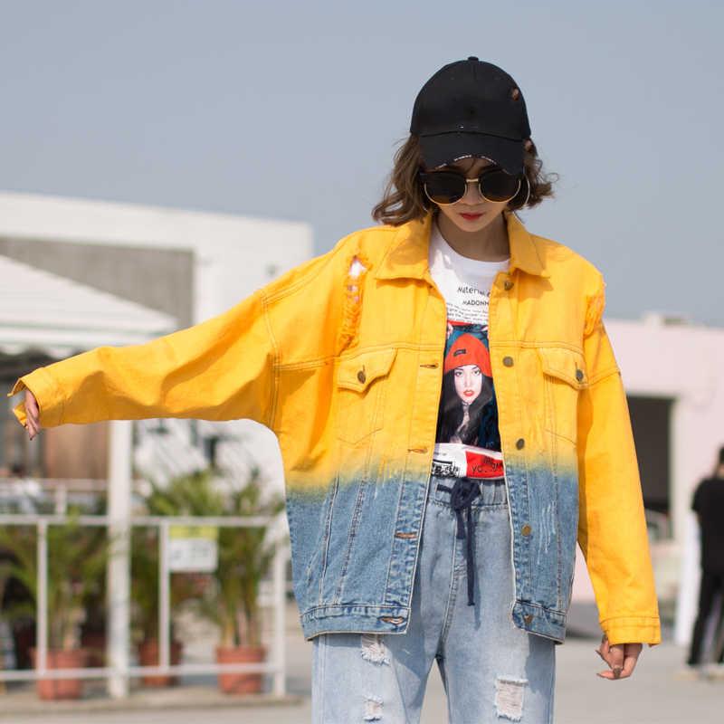 Colorblock kurtka dżinsowa kobiet 2019 jesień uczeń kurtka luźna z długim rękawem pojedyncze piersi BF styl na co dzień kurtka kobiet HP097