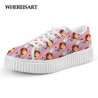 WHEREISART Classic Low Style Flats Women Shoes Woman Cute Cartoon Teacher Print Platform Height Increasing Ladies Shoe Creepers