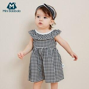 Image 2 - Платье мини balabala2019 для маленьких девочек, клетчатое платье на бретельках, хлопковая детская модная мягкая одежда