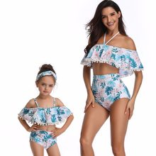 boat neck swimwear mother daughter bikini dresses family look mommy and me clothes matching swimsuits outfits mom baby clothing(China)