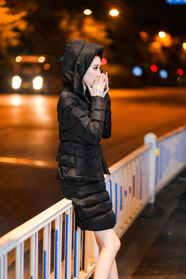 SexeMara Real Shot 2018 Winter New Down Cotton Suit Fashion Suit Female Small Fresh Warm Hooded Two-Piece Elegant Dress (15)