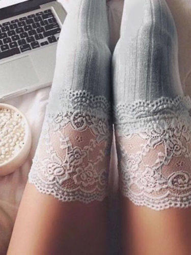 Winter Stockings 3 Colors Women Lace Slim Stockings Sexy Warm Thigh High Over The Knee Long Cotton Stockings Girls