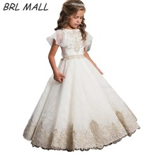 Elegant Gold Lace Appliques flower girl dresses for weddings Short Sleeves Kids Ball Gown first communion dresses for girls AB05 flower girl dresses for weddings ball gown tulle appliques lace long sleeves first communion dresses real picture high quality