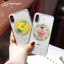 Qianliyao Real Dried Flower Cases For iPhone X XR XS Max Case Handmade Clear Soft TPU Cover For iPhone 6 6S 7 8 Plus Phone Case real dried flower handmade phone cases for iphone x xs max xr 6 6s 7 8 plus case cover for samsung galaxy s8 s9 s10 plus note8 9