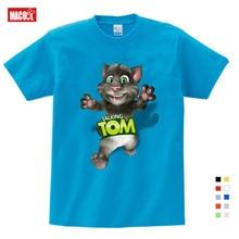 Cartoon Printed Children Summer Cotton T-shirt Talking Cat Game Boy/girl Tops Breathable Comfort TShirt Funny 3T-9T
