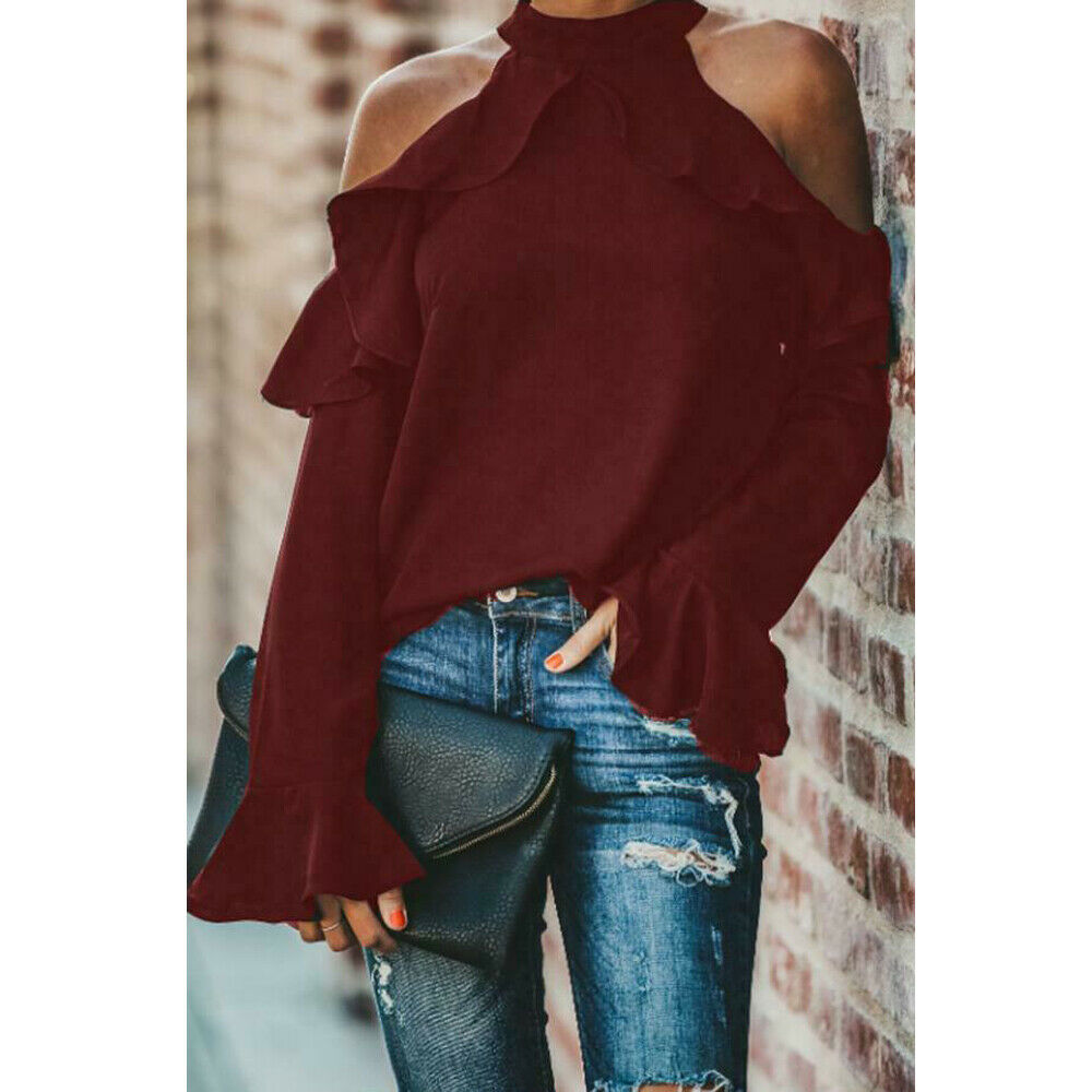 Arrival Women's Ladies Long Sleeve Off Shoulder Shirt Ruffle Loose Casual Blouse Summer Tops