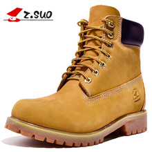 Z.Suo Original 2017 Fashion Men's Casual Boots Cow Leather Work Safety Boots Classic Retro High Top Ankle Boots ZS10061
