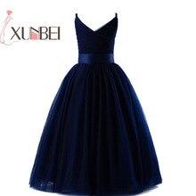 Темно-синие фатиновые платья в пол с цветочным узором для девочек г.; пышные платья для девочек с v-образным вырезом; платья для первого причастия; вечернее платье
