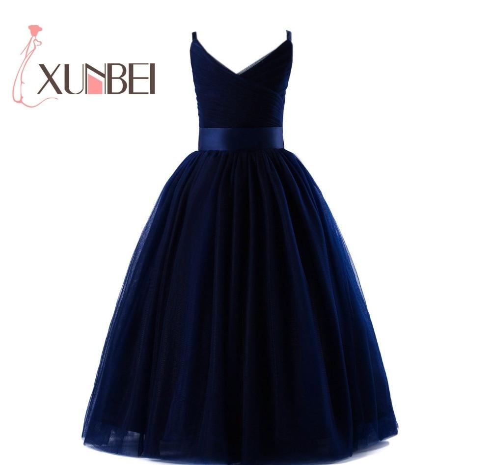 Floor Length Navy blue Tulle Flower Girl Dresses 2019 V Neck Girls Pageant Dresses First Communion Dresses Evening Party Gown